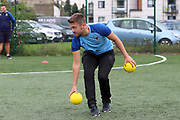 Dodgeball during the EFL Sky Bet League 1 match between AFC Wimbledon and Rochdale at the Cherry Red Records Stadium, Kingston, England on 5 October 2019.
