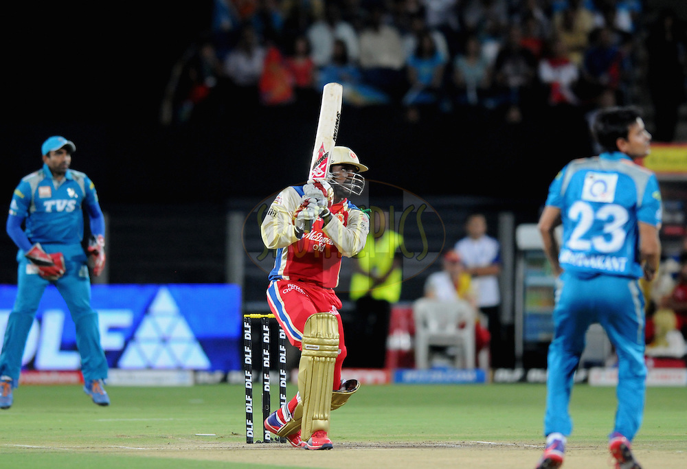 Chris Gayle of Royal Challengers Bangalore bats during match 57 of the Indian Premier League ( IPL) 2012  between The Pune Warriors India and the Royal Challengers Bangalore held at the Subrata Roy Sahara Stadium, Pune on the 11th May 2012..Photo by Pal Pillai/IPL/SPORTZPICS