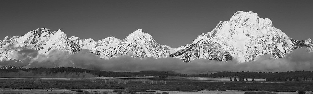 Grand Tetons, WY - Viewpoint - Panoramic - Black & White