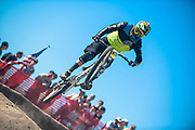 Scott Bicycles' Brendan Fairclough jumps down the Sea Otter slalom race course in Monterey, California.