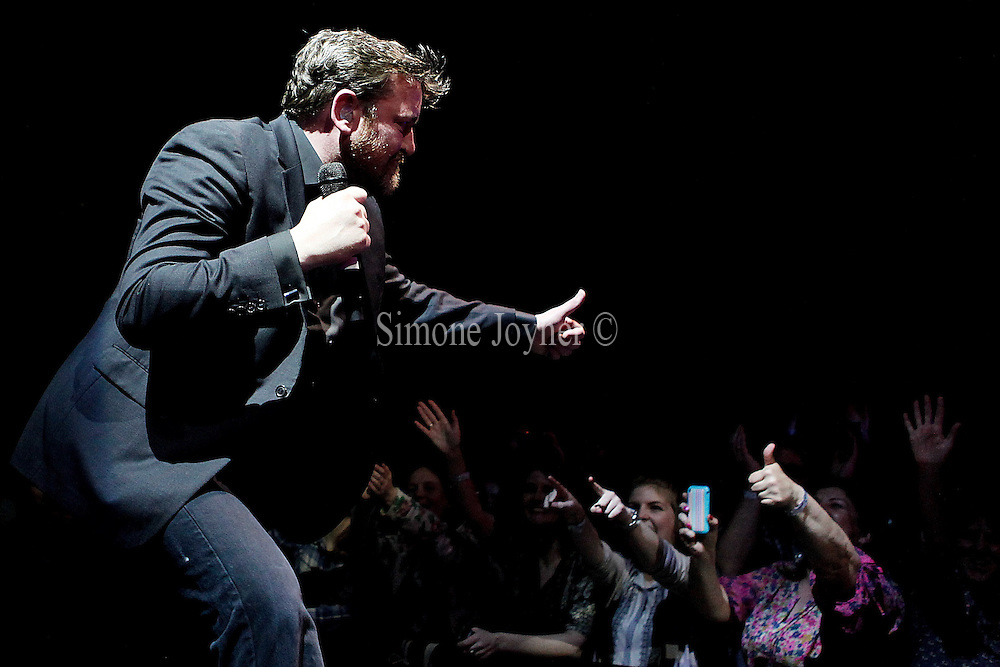 Guy Garvey of Elbow performs live on stage at 02 Arena on March 28, 2011 in London, England.  (Photo by Simone Joyner)