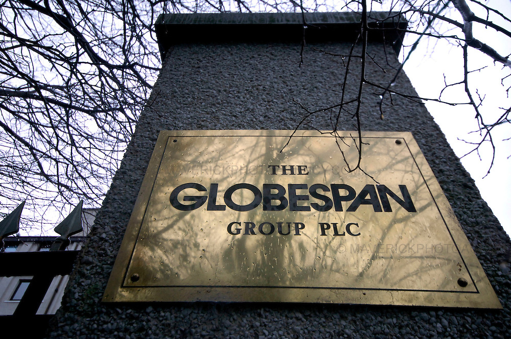 Flyglobespan, Scotland's largest airline, has gone bust, leaving about 5,000 travellers stranded abroad and 800 staff out of a job...More than 100,000 people have booked Christmas breaks with the company, which went into administration last night. Tens of thousands will receive no compensation for the loss. ..Picture shows a plaque outside the Globespan Groups headquarters in Edinburgh.