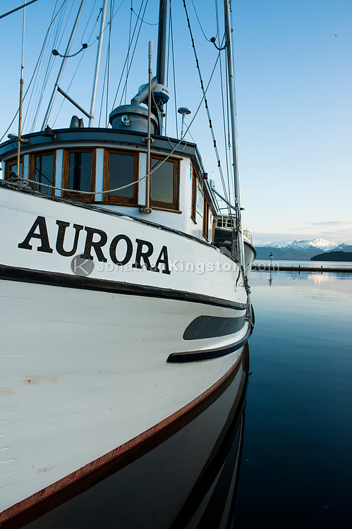 A wooden fishing boat in the Auke Bay harbor near Juneau, Alaska.