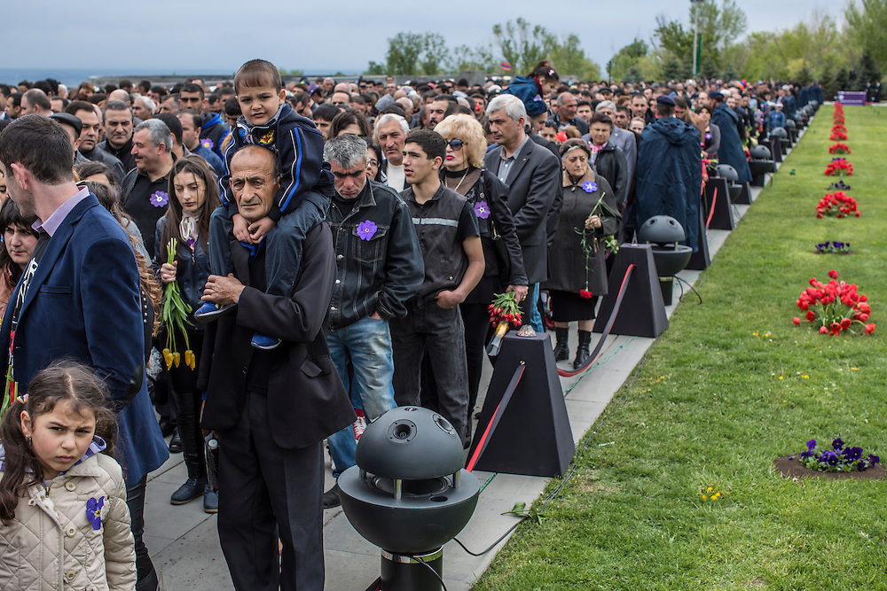 YEREVAN, ARMENIA - APRIL 24: Thousands of people line up to visit the Armenian genocide memorial on April 24, 2015 in Yerevan, Armenia. Armenians today are marking the one hundredth anniversary of events generally considered to be the start of a campaign of genocide against minority ethnic Armenians living in present-day eastern Turkey by the Ottoman government over fears of their allegiance during World War I. (Photo by Brendan Hoffman/Getty Images) *** Local Caption ***