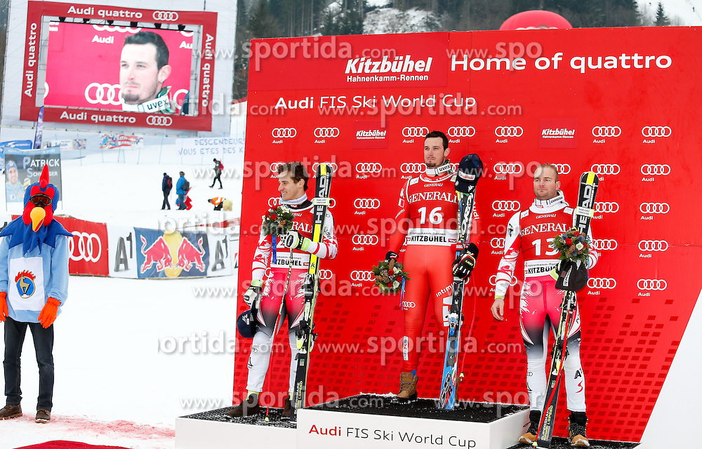 23.01.2015, Streif, Kitzbuehel, AUT, FIS Ski Weltcup, Supercombi Super G, Herren, Siegerpräsentation, im Bild v.l. Matthias Mayer (AUT, 2. Platz), Dominik Paris (ITA, 1. Platz) und Georg Streitberger (AUT, 3.Platz) // 2nd placed Matthias Mayer of Austria ( L ) , Winner Dominik Paris of Italy ( C ) and 3rd placed Georg Streitberger of Austria ( R ) celebrates on podium during the award ceremony for the men's Super-G of Kitzbuehel FIS Ski Alpine World Cup at the Streif Course in Kitzbuehel, Austria on 2015/01/23. EXPA Pictures © 2015, PhotoCredit: EXPA/ SM
