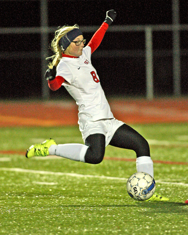 Southwestern's Karen Johnson attemps a kick at goal during section girls soccer play-offs against JFK at Southwestern 10-19-15 photo by Mark L. Anderson
