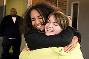 Students Lorena Rodriguez (FDA) and Maggie Griebert (WMC) saying goodbye at end of Freedom Ride 2008