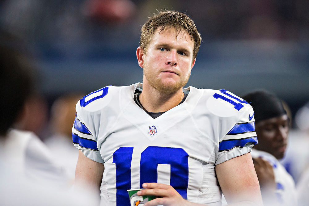 ARLINGTON, TX - SEPTEMBER 3:  Dustin Vaughan #10 of the Dallas Cowboys on the sidelines during a preseason game against the Houston Texans at AT&T Stadium on September 3, 2015 in Arlington, Texas.  The Cowboys defeated the Texans 21-14.  (Photo by Wesley Hitt/Getty Images) *** Local Caption *** Dustin Vaughan