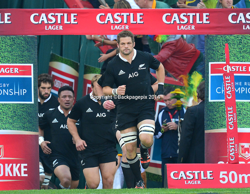 Richie McCaw of New Zealand leads team out during the Castle Lager Rugby Championship match between South Africa and New Zealand at Ellis Park on 04 October 2014 © Gavin Barker/BackpagePix