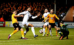 Ben Williamson of Cambridge United is blocked off by Kyle Bartley of Leeds United - Mandatory by-line: Robbie Stephenson/JMP - 09/01/2017 - FOOTBALL - Cambs Glass Stadium - Cambridge, England - Cambridge United v Leeds United - FA Cup third round