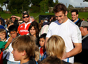 The New Zealand All blacks training session at Yarrow Stadium, New Plymouth, Auckland. Monday 7th June 2010. All Black captain Richie McCaw was popular with the fans. Photo: Mike Scott/PHOTOSPORT