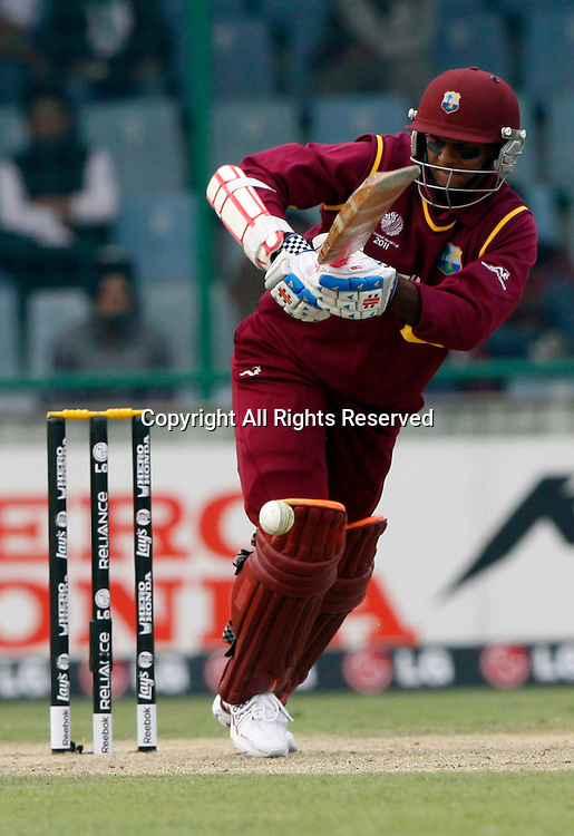 24.02.2011 Cricket World Cup from the Feroz Shah Kotla stadium in Delhi. Shivnarine Chanderpaul of West Indies plays a shot during the match of the ICC Cricket World Cup between South Africa and West Indies.