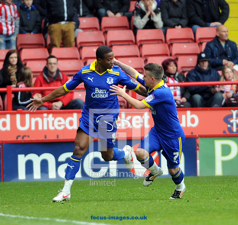Picture by Graham Crowther/Focus Images Ltd. 07763140036.14/04/12.Kevin Lisbie of Leyton Orient celebrates his goal during the Npower League 1 match at Bramall Lane stadium, Sheffield.