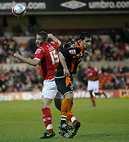 Photo: Richard Lane/Richard Lane Photography. Nottingham Forest v Blackpool. Coca Cola Championship. 13/12/2008. Chris Cohen (L) and Joe Martin (R) contest a clearance