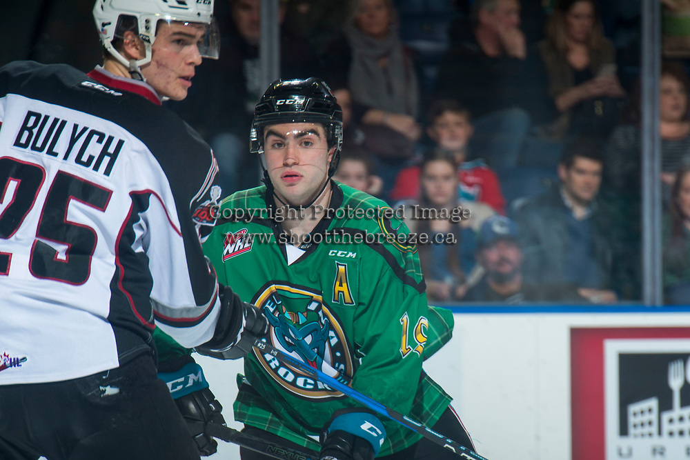 KELOWNA, CANADA - MARCH 18: Dillon Dube #19 of the Kelowna Rockets skates against the Vancouver Giants  on March 1, 2018 at Prospera Place in Kelowna, British Columbia, Canada.  (Photo by Marissa Baecker/Shoot the Breeze)  *** Local Caption ***
