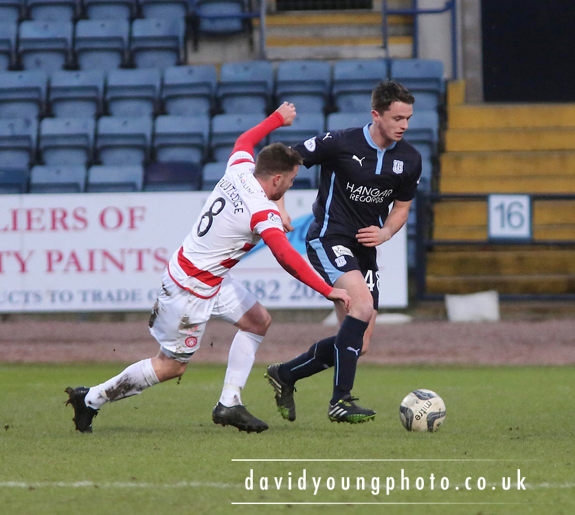Dundee new boy Stephen McGinn and Hamilton&rsquo;s Jon Routledge -  Dundee v Hamilton Academical, SPFL Premiership at Dens Park <br /> <br /> <br />  - &copy; David Young - www.davidyoungphoto.co.uk - email: davidyoungphoto@gmail.com