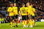 Eden Hazard (#10) of Belgium celebrates Belgium's second goal (0-2) with Belgian teammates during the International Friendly match between Scotland and Belgium at Hampden Park, Glasgow, United Kingdom on 7 September 2018.