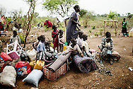 Dzaipi transit refugee camp in north Uganda, where new refugees arrives from the conflict in South Sudan every day. On the first of march there was as many as 52.282 refugees. UNHCR are transporting the refugees and the MSF has a health center to help the people in the camp. Some new arrivers sleeps under the trees, because the transit camp is to full.