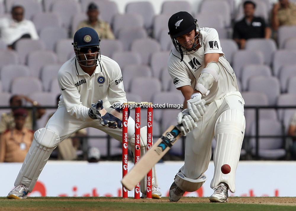 New Zealand batsman Tim Southee takes shot against Indian during The India vs New Zealand 3rd test match day-2 Played at Vidarbha Cricket Association Stadium, Jamtha, Nagpur, 21, November 2010 (5-day match)