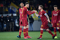 February 23, 2019 - Frosinone, Italia - Foto Alfredo Falcone - LaPresse.23/02/2019 Frosinone ( Italia).Sport Calcio.Frosinone - Roma.Campionato di Calcio Serie A Tim 2018 2019 - Stadio Benito Stirpe di Frosinone.Nella foto:esultanza dzeko..Photo Alfredo Falcone - LaPresse.23/02/2019 Frosinone (Italy).Sport Soccer.Frosinone - Roma.Italian Football Championship League A Tim 2018 2019 - Stadium Benito Stirpe of Frosinone.In the pic:dzeko celebrates (Credit Image: © Alfredo Falcone - Lapresse.&Quot/Lapresse via ZUMA Press)