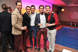 Left to right, Lachie Chapman, Darren Everest, Mark Franks, Mike Crawshaw and Timmy Mately of The Overtones at a pool party to celebrate the UK launch of the Omega Ladymatic Collection held at the Haymarket Hotel, Haymarket, London on 16th June 2011.