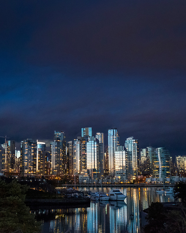 Vancouver's skyline glows during a February sunset.