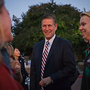 Candidate for the 8th District (VA) Congressional Seat, Don Beyer, chats with supporters before a Democrat get out the vote (GOTV) rally at Market Square in Old Town Alexandria, VA, on  Monday, November 3, 2014, the day before Election Day.  John Boal Photography