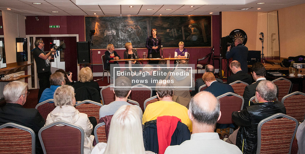 Cabinet Secretary for Training, Youth and Women's Employment, Angela Constance, MSP, launched her campaign to become the next Depute Leader of the SNP. Ms Constance is MSP for Almond Valley.  Pictured, Jean Moffat,  Liz Bardell (vice convenor Almond Valled SNP association), Angela Constance and Lorna Skirving. Addiewell 1 October 2014 Ger Harley | StockPix.eu
