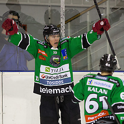 23.01.2015, Hala Tivoli, Ljubljana, SLO, EBEL, HDD Telemach Olimpija Ljubljana vs HC Znojmo Orli, 42. Runde, in picture Sebastijan Hadzic (HDD Telemach Olimpija, #30) celebrates after scoring his first goal in EBEL league during the Erste Bank Icehockey League 42. Round between HDD Telemach Olimpija Ljubljana and HC Znojmo Orli at the Hala Tivoli, Ljubljana, Slovenia on 2015/01/23. Photo by Morgan Kristan / Sportida