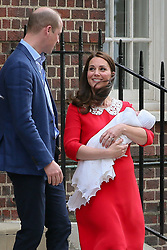 Duke and Duchess of Cambridge, Prince William and Catherine leaving St Marys Hospital after the birth of their 3rd child - London<br />