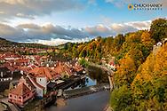 Looking down onto the village of Cesky Krumlov, Czech Republic