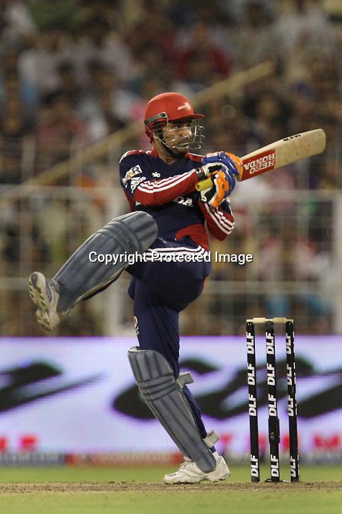 Delhi Daredevils Batsman Virender Sehwag Hit  The Shot Against Kolkata Knight Riders During The Indian Premier League - 39th match Twenty20 match |2009/10 season Played at Eden Gardens, Kolkata 7 April 2010 - day/night (20-over match)