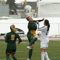5th year defender Kayla McDonald (3) of the Regina Cougars in action during the Women's Soccer  road trip to Saskatoon on October 9 at Griffiths Stadium. Credit: Arthur Ward/Arthur Images