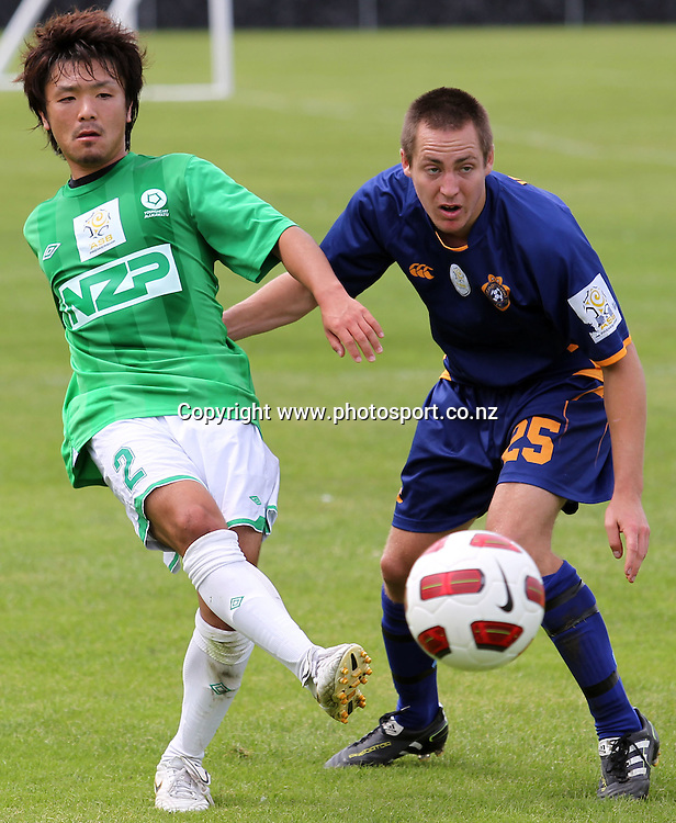 Nobuyishi Ishi looks to pass.<br /> ASB Premiership Football - Otago United v Youngheart Manawatu, 13 February 2011, Tahuna Park, Dunedin, New Zealand.<br /> Photo: Rob Jefferies / www.photosport.co.nz