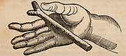 Diving for metals or water (dowsing) using a small forked stick resting on the pal of the hand. This method was not as commonly used as was a longer stick or rod held in both hands, but was used to test the potential power of an individual.  Woodcut from 'The Saturday Magazine' (London, 30 July 1836).