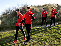 DUBLIN, REPUBLIC OF IRELAND - Friday, March 24, 2017: Wales' Harry Wilson and Ben Woodburn during a pre-match team walk around Portmarnock Hotel And Golf Links ahead of the 2018 FIFA World Cup Qualifying Group D match against Republic of Ireland. (Pic by David Rawcliffe/Propaganda)