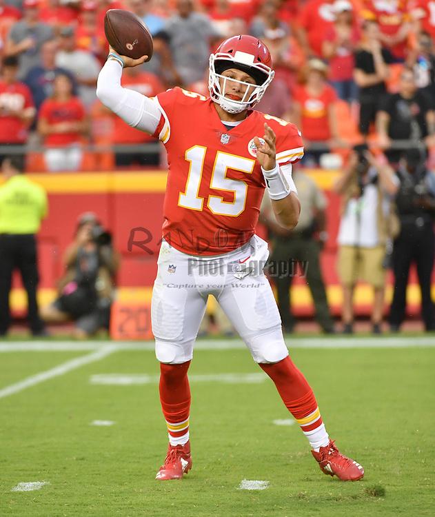 Aug 9, 2018; Kansas City, MO, USA; Kansas City Chiefs quarterback Patrick Mahomes (15) throws a pass during the first half against the Houston Texans at Arrowhead Stadium. Mandatory Credit: Denny Medley-USA TODAY Sports