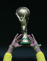 Fussball WM 2006        Japan - Brasilien Ein brasilianischer Fan haelt eine Atrappe des WM-Pokals in den Haenden.