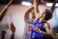 Markovic  Aleksa of Serbia vs Donadio  Lorenzo of Italy during basketball match between National teams of Serbia and Italy in the 9th place Classifications of FIBA U18 European Championship 2019, on August 4, 2019 in Portaria Hall, Volos, Greece. Photo by Vid Ponikvar / Sportida