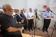 12th Biennale of Architecture. Venezia Pavillion. Biennale President Paolo Baratta holding a speech at the opening of the exhibition about sculptor Toni Benetton and architect Toni Follina (l., white beard.)