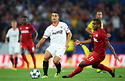 SEVILLE, SPAIN - NOVEMBER 01:  Wissam Ben Yedder of Sevilla FC (L) being followed by Fernando Lucas Martins of FC Spartak Moskva (R) during the UEFA Champions League group E match between Sevilla FC and Spartak Moskva at Estadio Ramon Sanchez Pizjuan on November 1, 2017 in Seville, Spain.  (Photo by Aitor Alcalde Colomer/Getty Images)