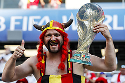 Belgium fan with the World Cup during the 2018 FIFA World Cup Russia group G match between England and Belgium at the Kalingrad stadium on June 28, 2018 in Kaliningrad, Russia
