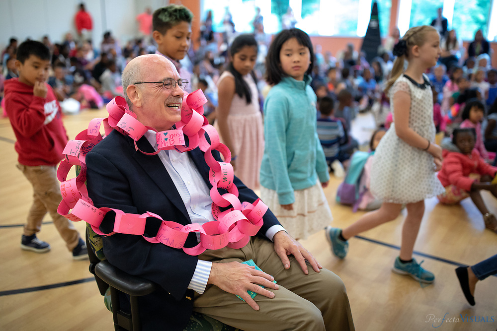 Last day of school at Ronald E. McNair Elementary School.<br /> <br /> A celebration for retiring principal George A. Boschini.<br /> <br /> Photographed, Tuesday, June 12, 2018, in Greensboro, N.C. JERRY WOLFORD and SCOTT MUTHERSBAUGH / Perfecta Visuals