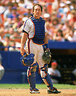 QUEENS, NY - 1988:  Gary Carter of the New York Mets look on during an MLB game at Shea Stadium in Queens, NY during the 1988 season. (Photo by Ron Vesely).  Subject:   Gary Carter
