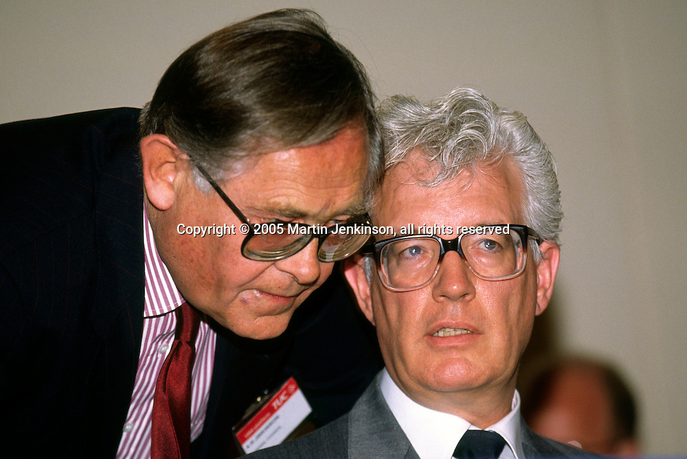 Alan Jinkinson General Secretary NALGO with Rodney Bickerstaffe General Secretary NUPE ...© Martin Jenkinson, tel 0114 258 6808 mobile 07831 189363 email martin@pressphotos.co.uk. Copyright Designs & Patents Act 1988, moral rights asserted credit required. No part of this photo to be stored, reproduced, manipulated or transmitted to third parties by any means without prior written permission