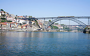The Luis I (or Luiz I) Bridge a metal arch bridge that spans the Douro River between the cities of Porto and Vila Nova de Gaia in Portugal. At the time of construction its span of 172 m was the longest of its type in the world. The bridge opened on 31 October 1886.