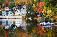 Houses by a lake in New Hampshire.