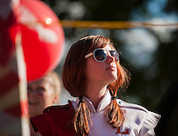 "Sophomore Jessica McDermott prepares to march with the band during the Laconia High School ""Pride"" themed Homecoming parade Friday afternoon.   (Karen Bobotas/for the Laconia Daily Sun)"