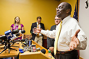 17 OCTOBER 2011 - PHOENIX, AZ:   HERMAN CAIN, a Republican candidate for US President, talks to reporters during a press conference at the Maricopa County Sheriff's Office in Phoenix, AZ, Monday. Cain was in Phoenix to visit with Maricopa County Sheriff Joe Arpaio and was the featured speaker at a Republican party fundraiser.  PHOTO BY JACK KURTZ