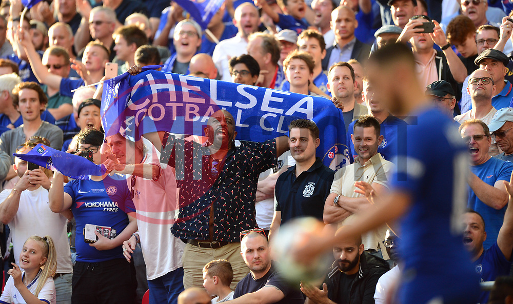 Chelsea fans look on to Eden Hazard of Chelsea - Mandatory by-line: Alex James/JMP - 19/05/2018 - FOOTBALL - Wembley Stadium - London, England - Chelsea v Manchester United - Emirates FA Cup Final
